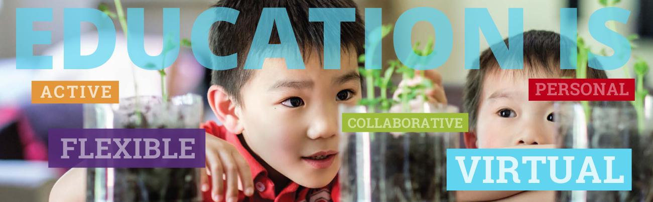 Banner : Calvert Education is active, flexible, collaborative, virtual and virtual