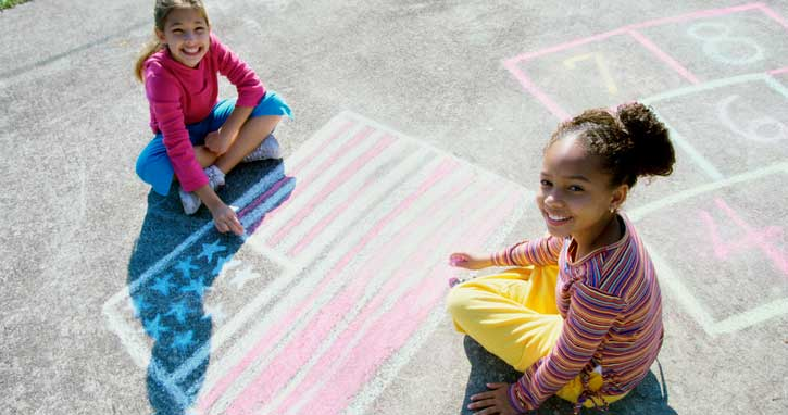 homeschoolers patriotic chalk drawing